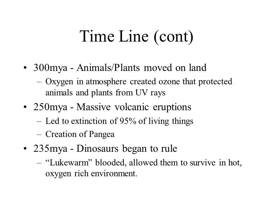 Time Line (cont) 300mya - Animals/Plants moved on land