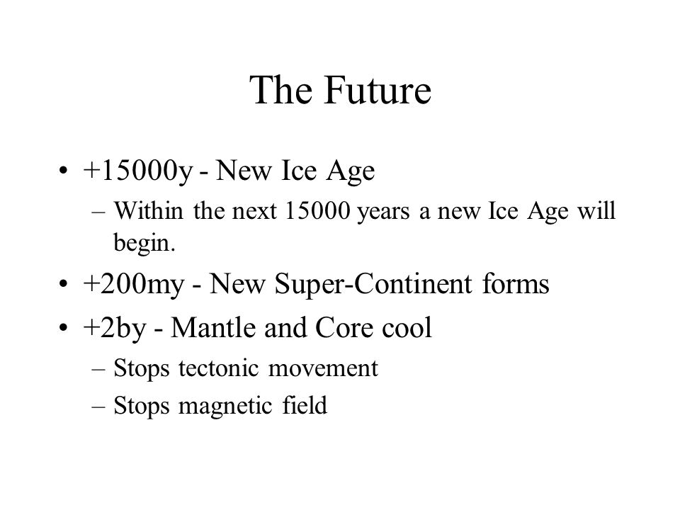 The Future +15000y - New Ice Age +200my - New Super-Continent forms