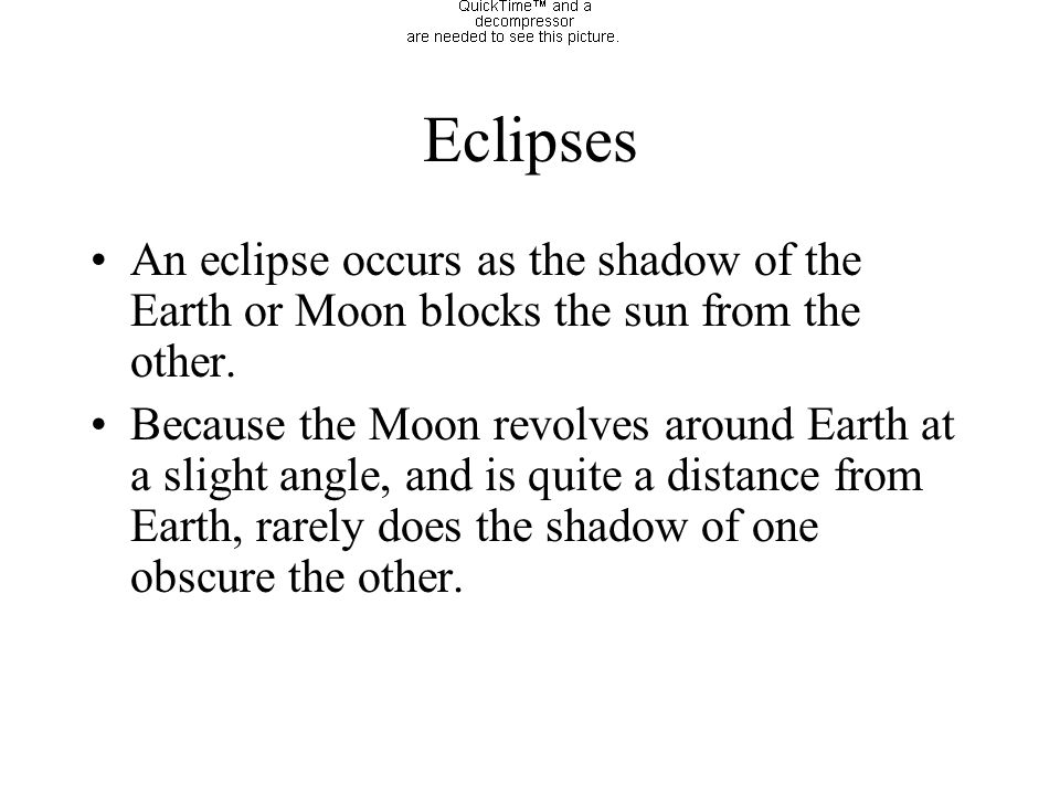 Eclipses An eclipse occurs as the shadow of the Earth or Moon blocks the sun from the other.
