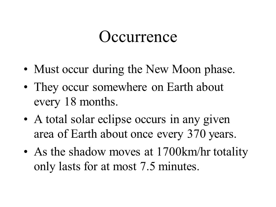 Occurrence Must occur during the New Moon phase.