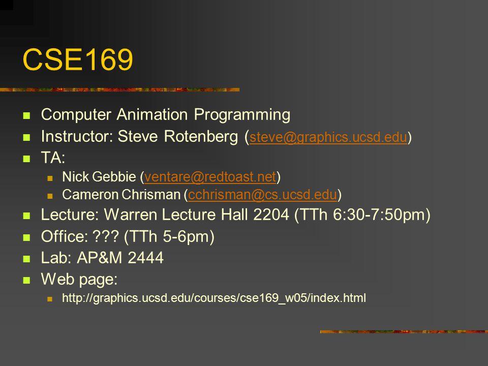 CSE169 Computer Animation Programming