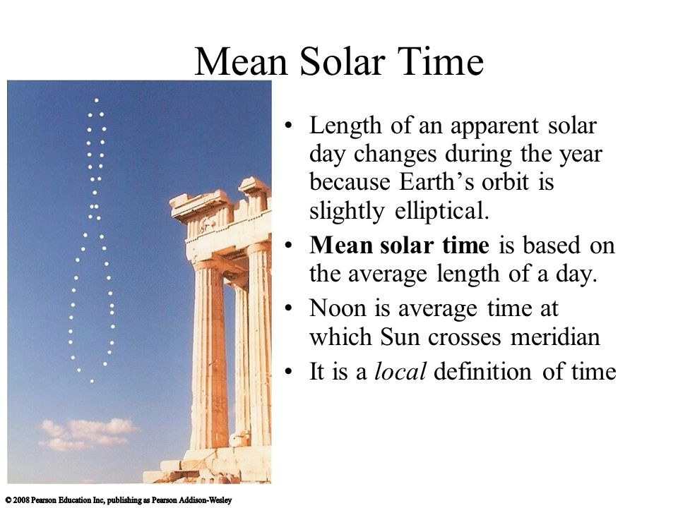 Mean Solar Time Length of an apparent solar day changes during the year because Earth's orbit is slightly elliptical.