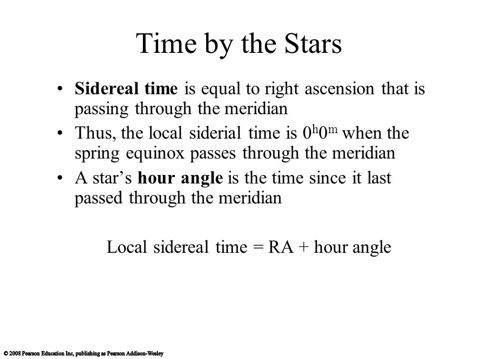 Local sidereal time = RA + hour angle