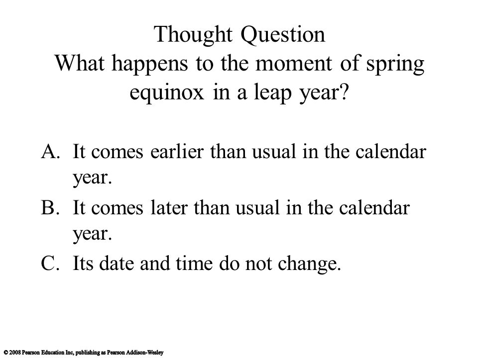 Thought Question What happens to the moment of spring equinox in a leap year