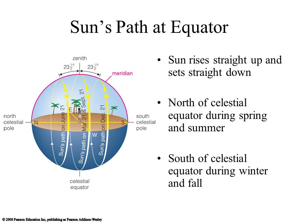 Sun's Path at Equator Sun rises straight up and sets straight down