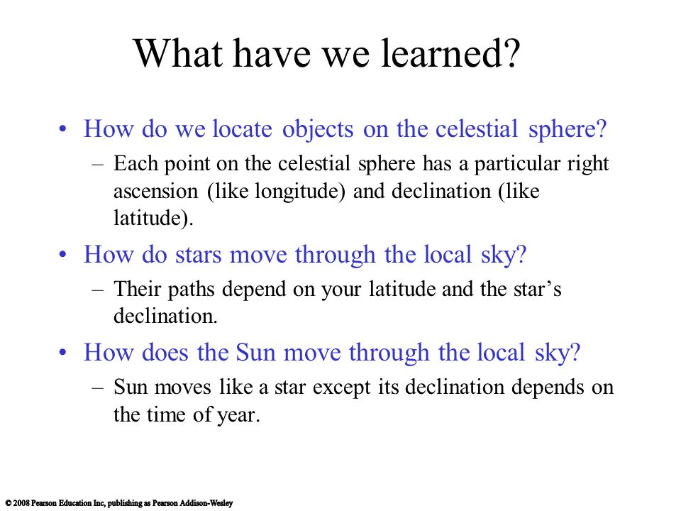 What have we learned How do we locate objects on the celestial sphere