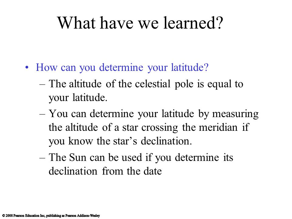 What have we learned How can you determine your latitude