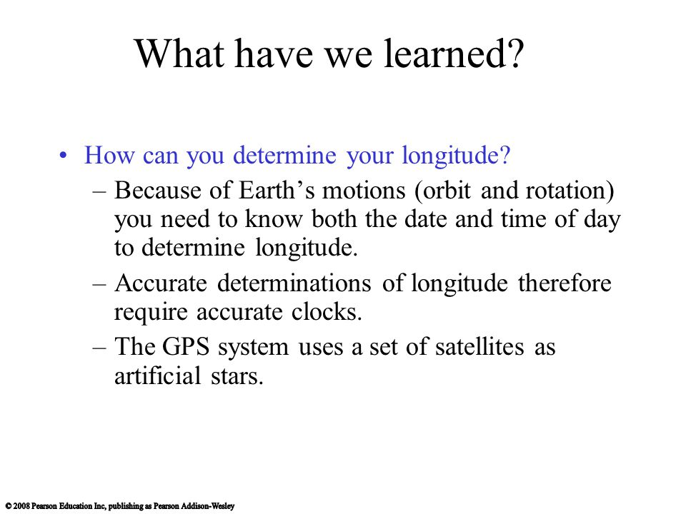 What have we learned How can you determine your longitude