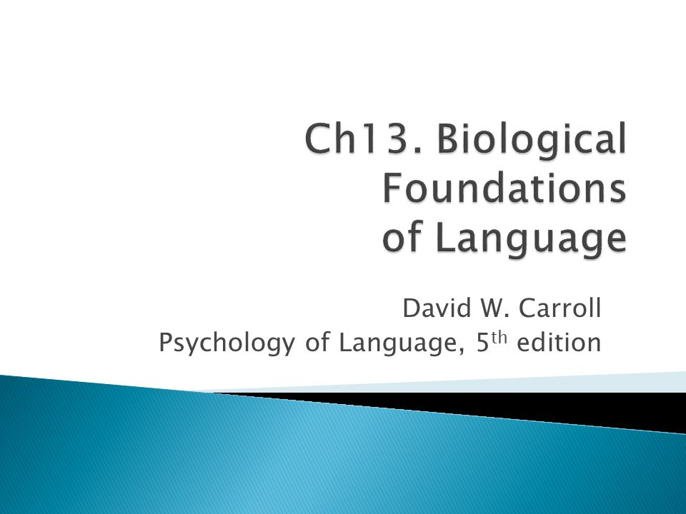 Ch13. Biological Foundations of Language