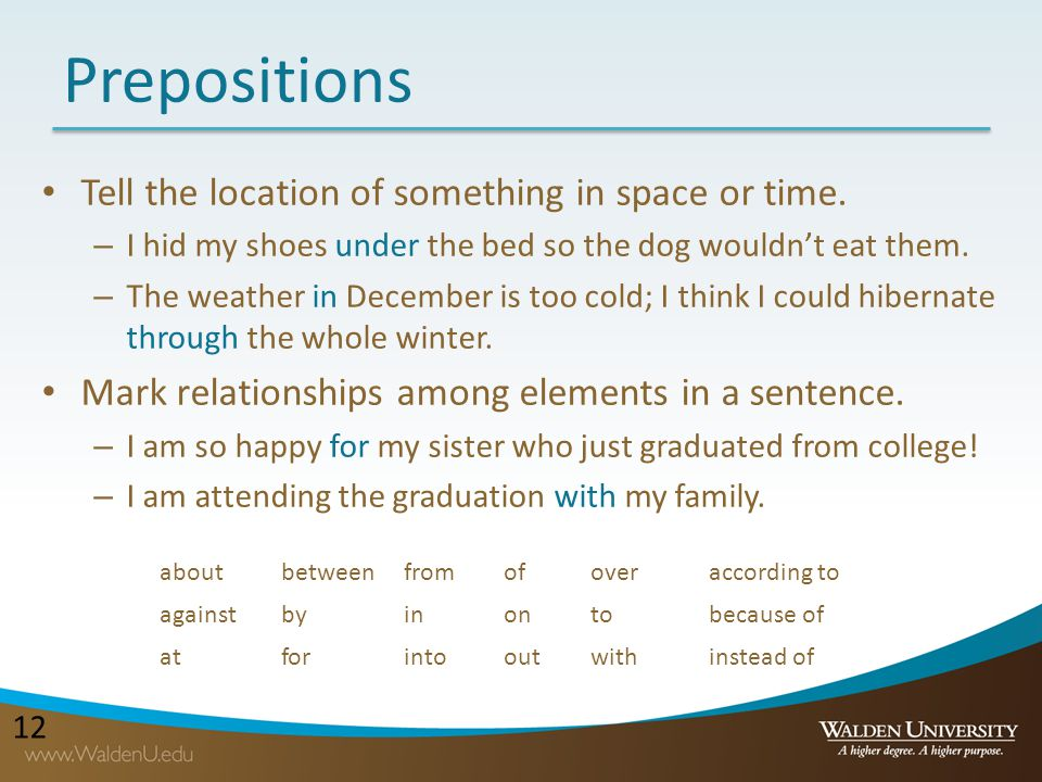 Prepositions Tell the location of something in space or time.