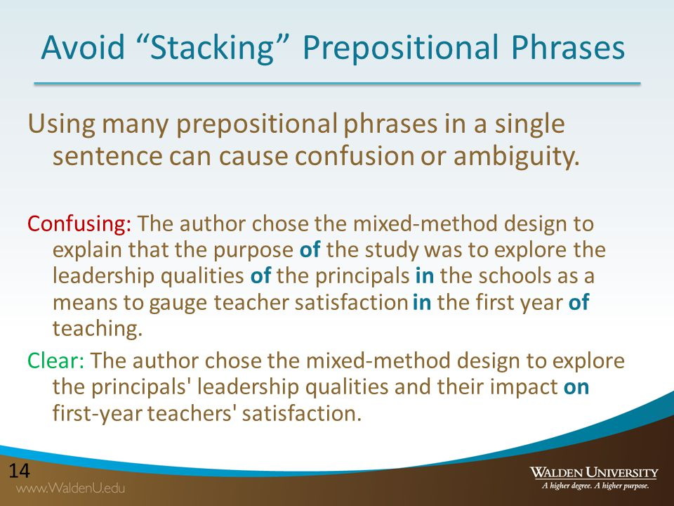 Avoid Stacking Prepositional Phrases