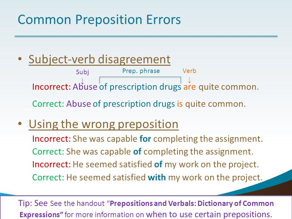 Common Preposition Errors