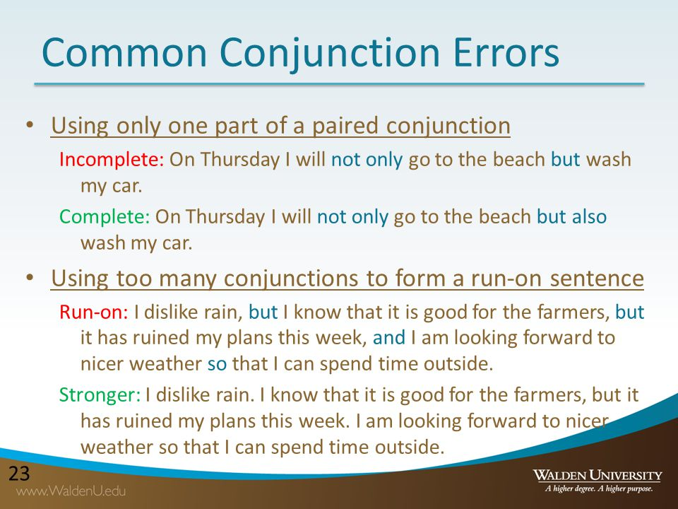 Common Conjunction Errors