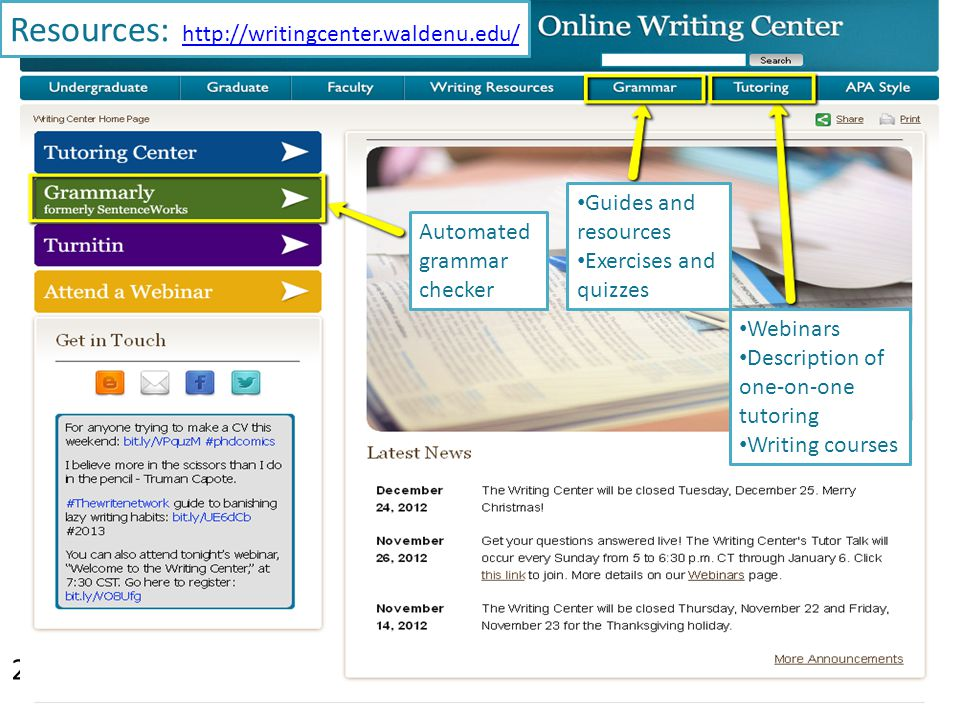 Resources: http://writingcenter.waldenu.edu/