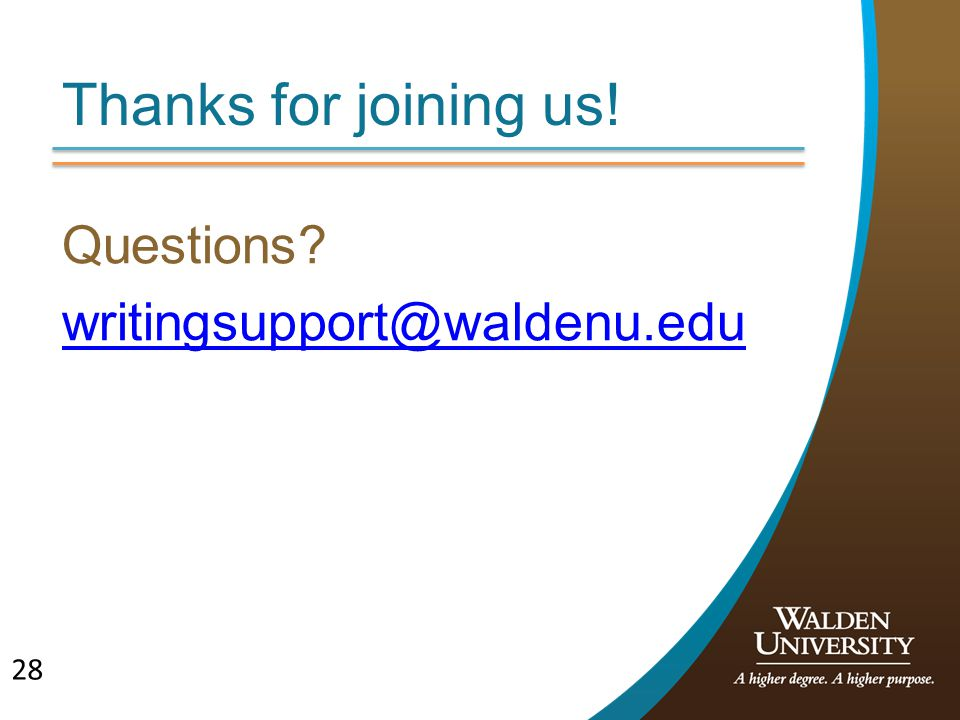 Questions writingsupport@waldenu.edu