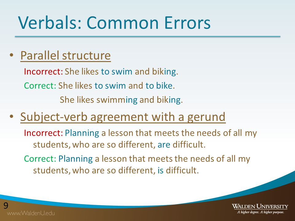 Verbals: Common Errors