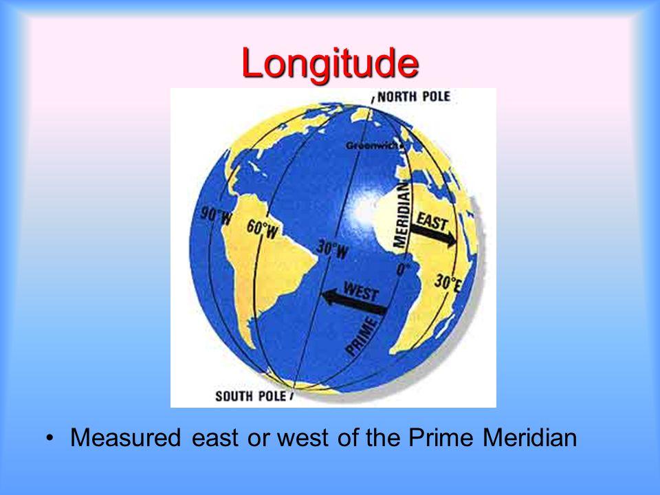 Longitude Measured east or west of the Prime Meridian