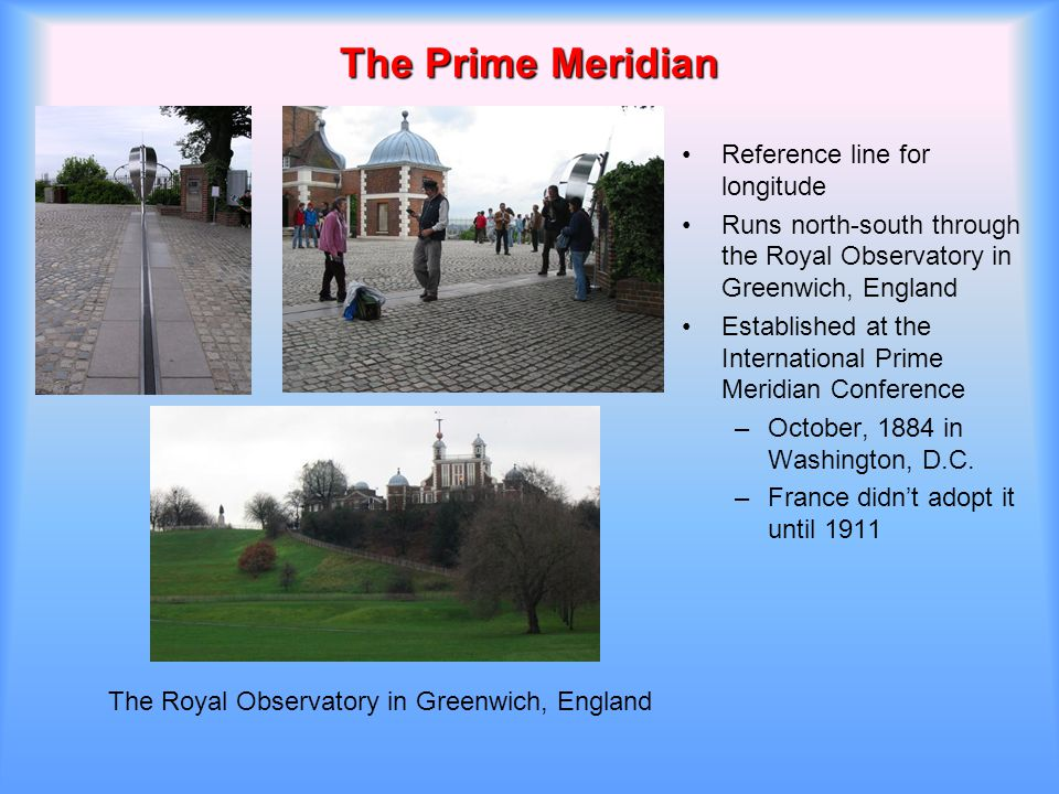 The Prime Meridian Reference line for longitude