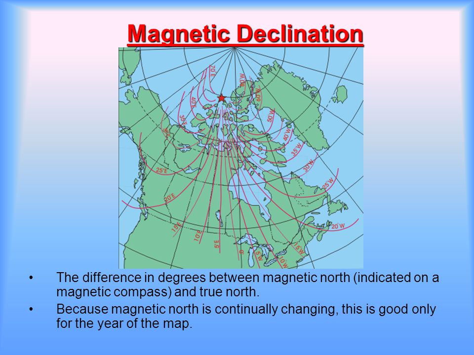 Magnetic Declination The difference in degrees between magnetic north (indicated on a magnetic compass) and true north.