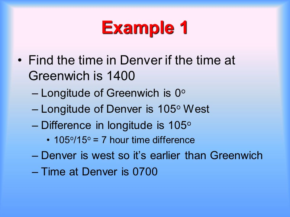 Example 1 Find the time in Denver if the time at Greenwich is 1400