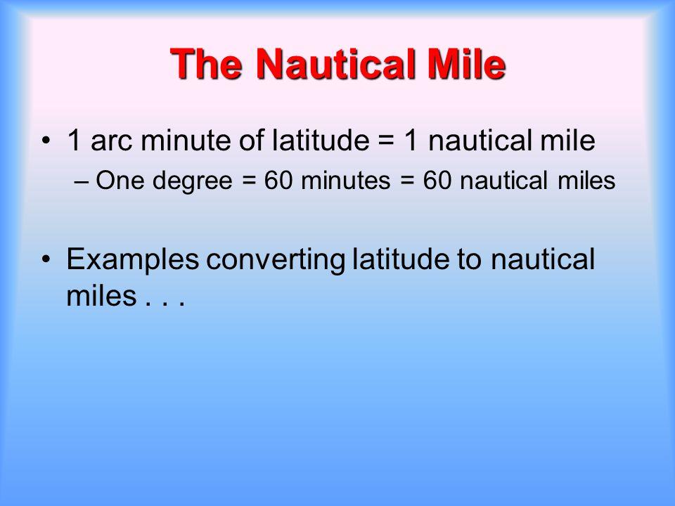 The Nautical Mile 1 arc minute of latitude = 1 nautical mile