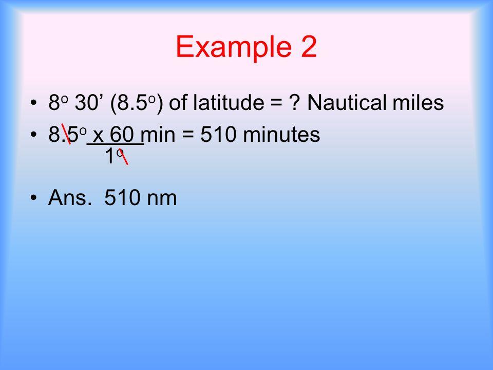 Example 2 8o 30' (8.5o) of latitude = Nautical miles
