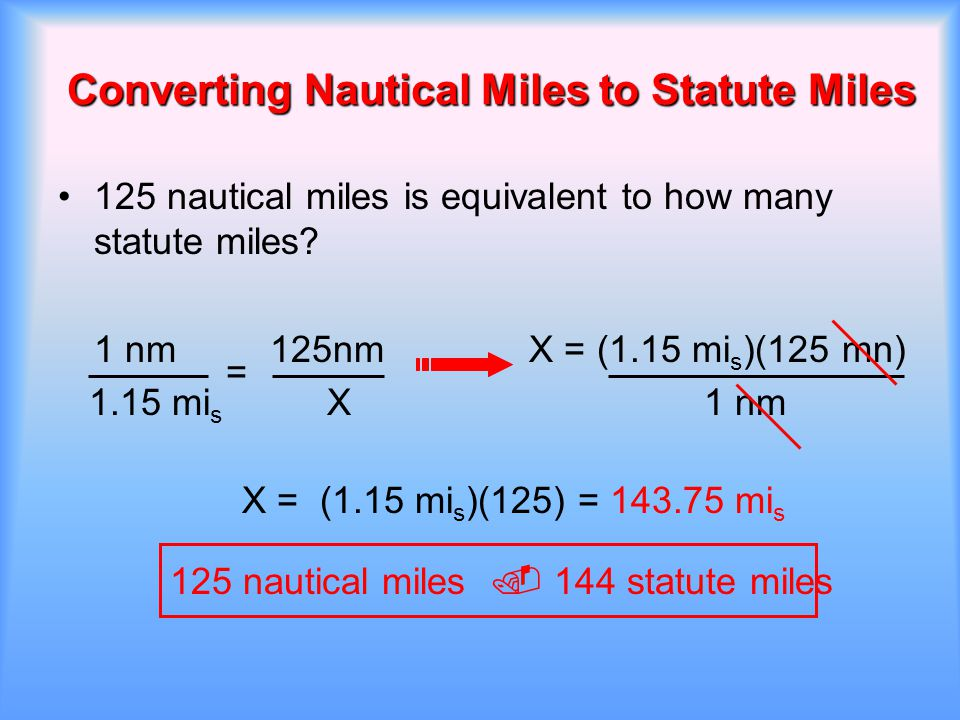 Converting Nautical Miles to Statute Miles