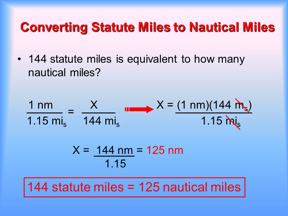 Converting Statute Miles to Nautical Miles