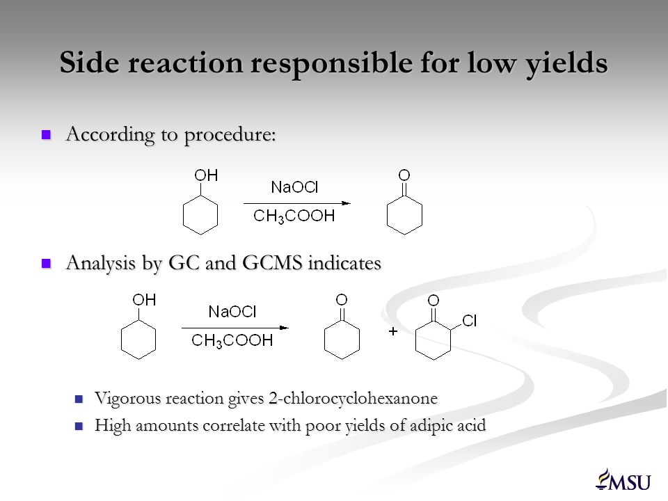 Side reaction responsible for low yields