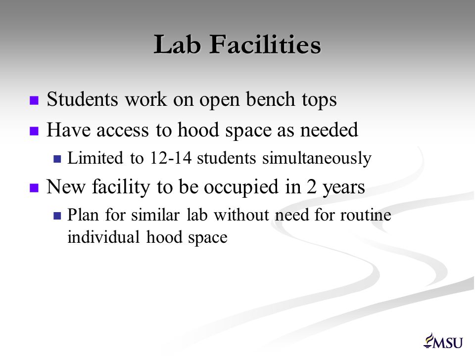 Lab Facilities Students work on open bench tops