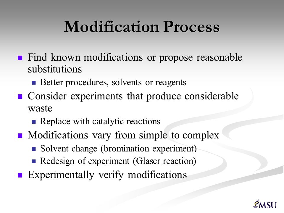 Modification Process Find known modifications or propose reasonable substitutions. Better procedures, solvents or reagents.