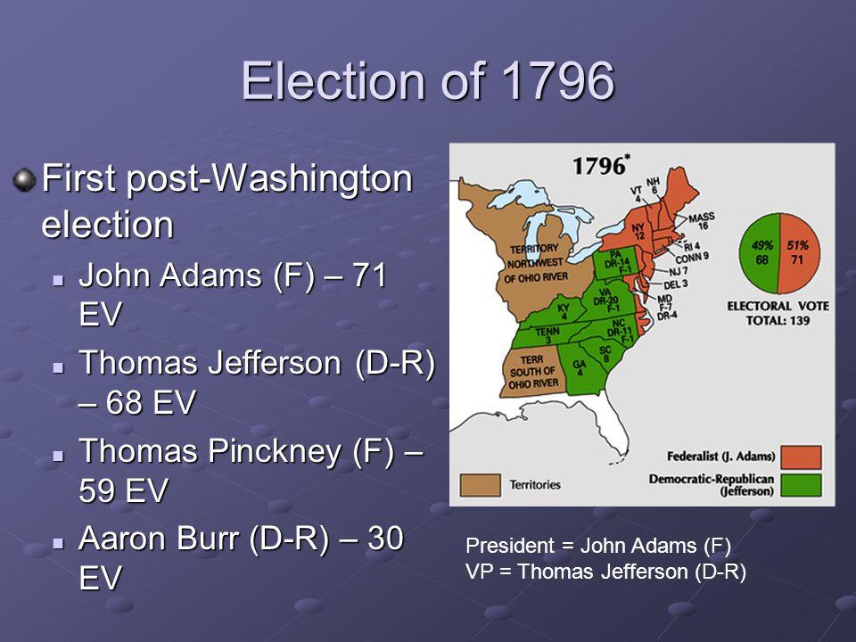 Election of 1796 First post-Washington election John Adams (F) – 71 EV