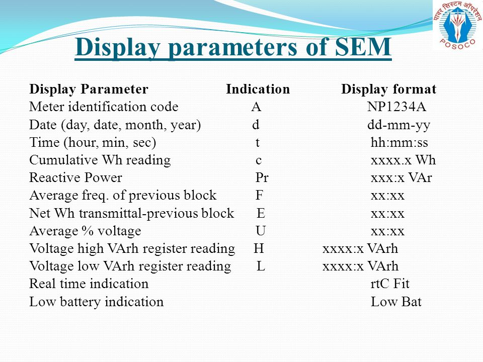 Display parameters of SEM