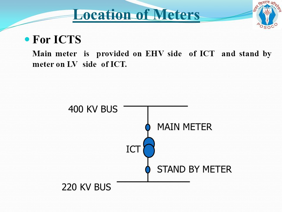 Location of Meters For ICTS 400 KV BUS MAIN METER ICT STAND BY METER