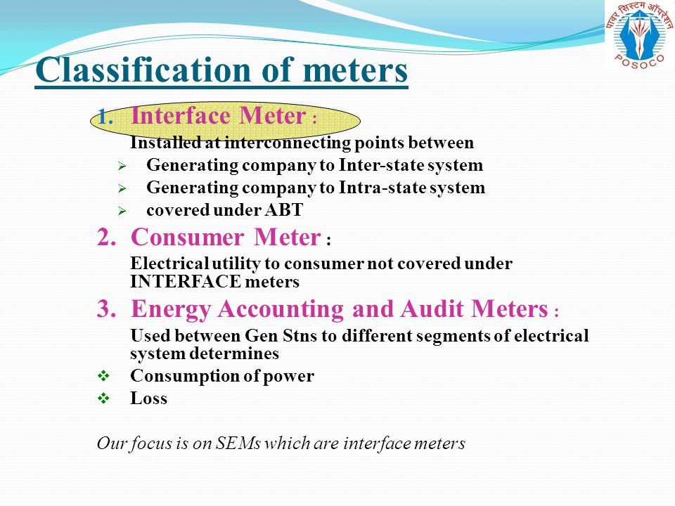 Classification of meters