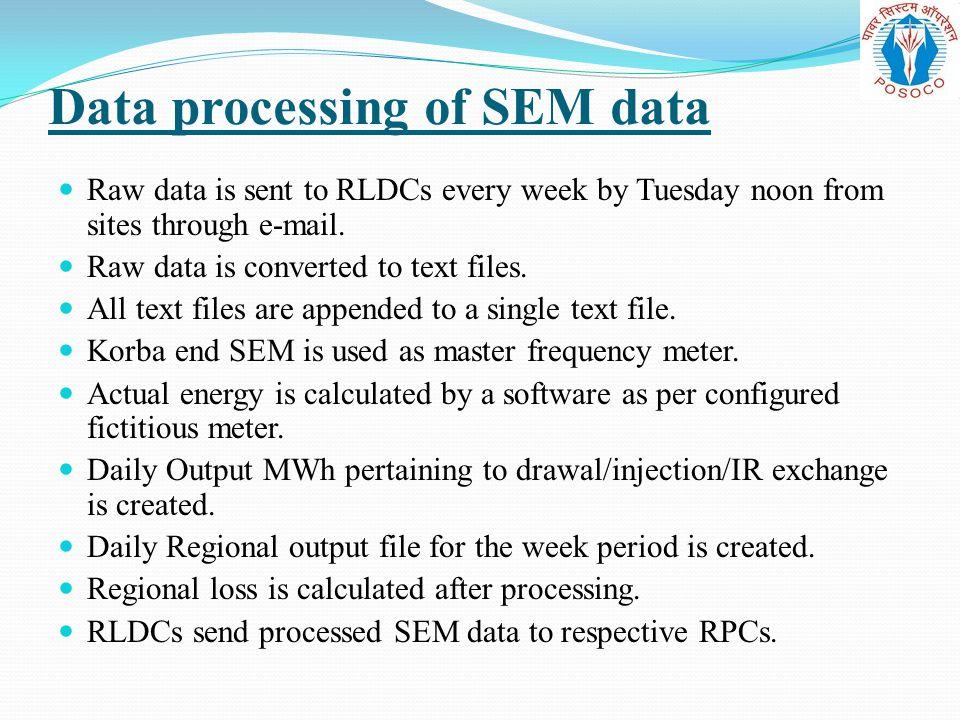 Data processing of SEM data