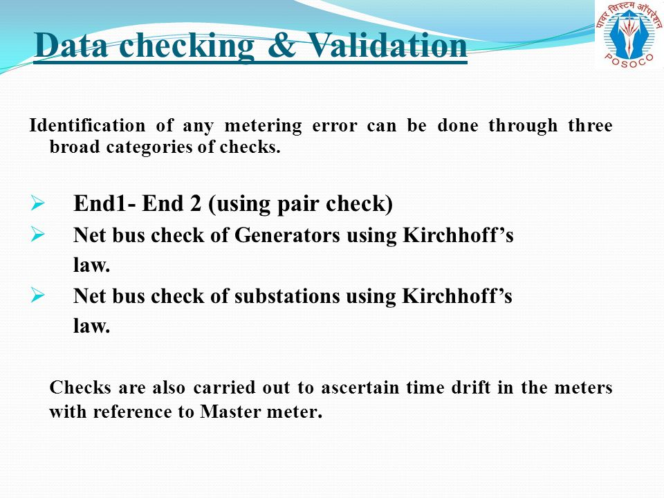 Data checking & Validation