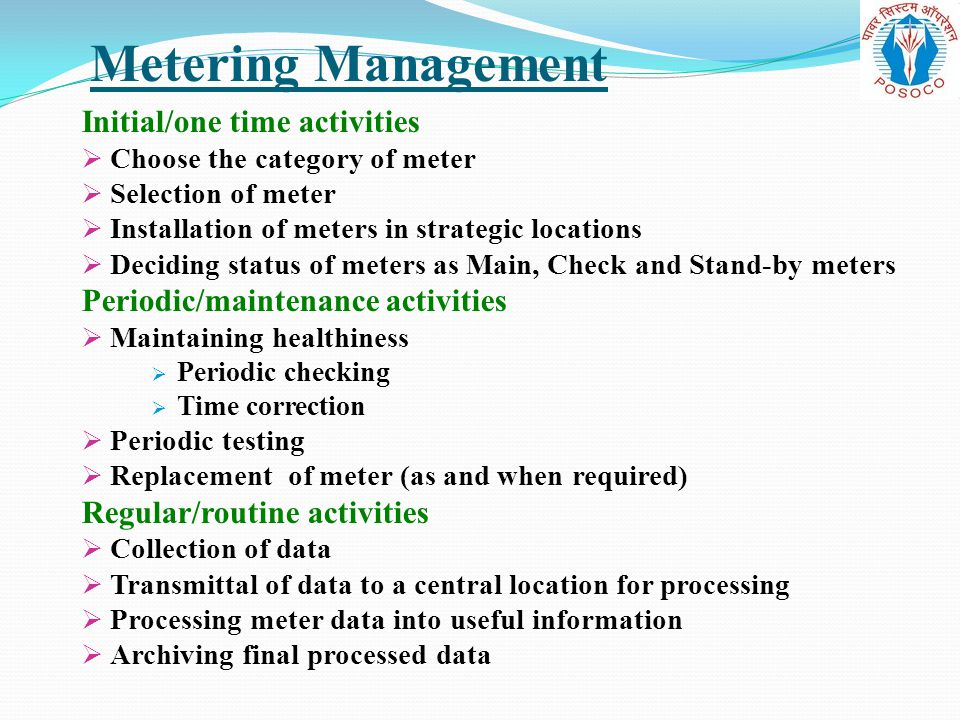 Metering Management Initial/one time activities