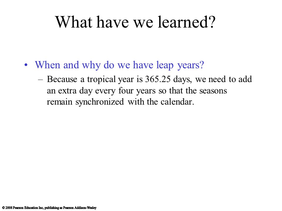 What have we learned When and why do we have leap years
