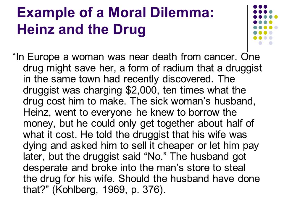 Example of a Moral Dilemma: Heinz and the Drug