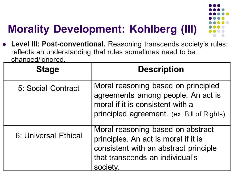 Morality Development: Kohlberg (III)
