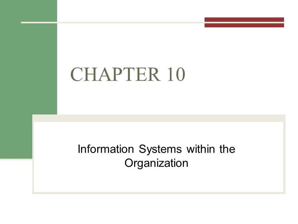 Information Systems within the Organization