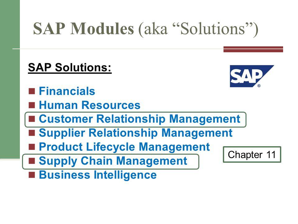 SAP Modules (aka Solutions )