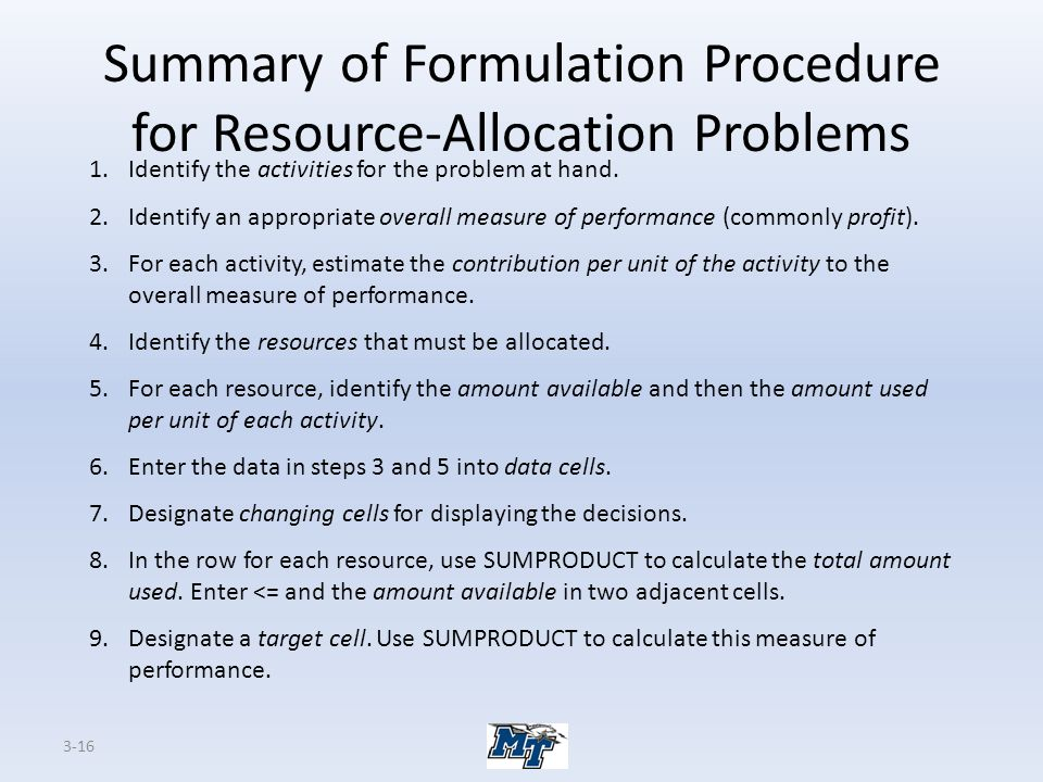 Summary of Formulation Procedure for Resource-Allocation Problems