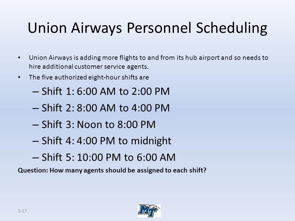 Union Airways Personnel Scheduling