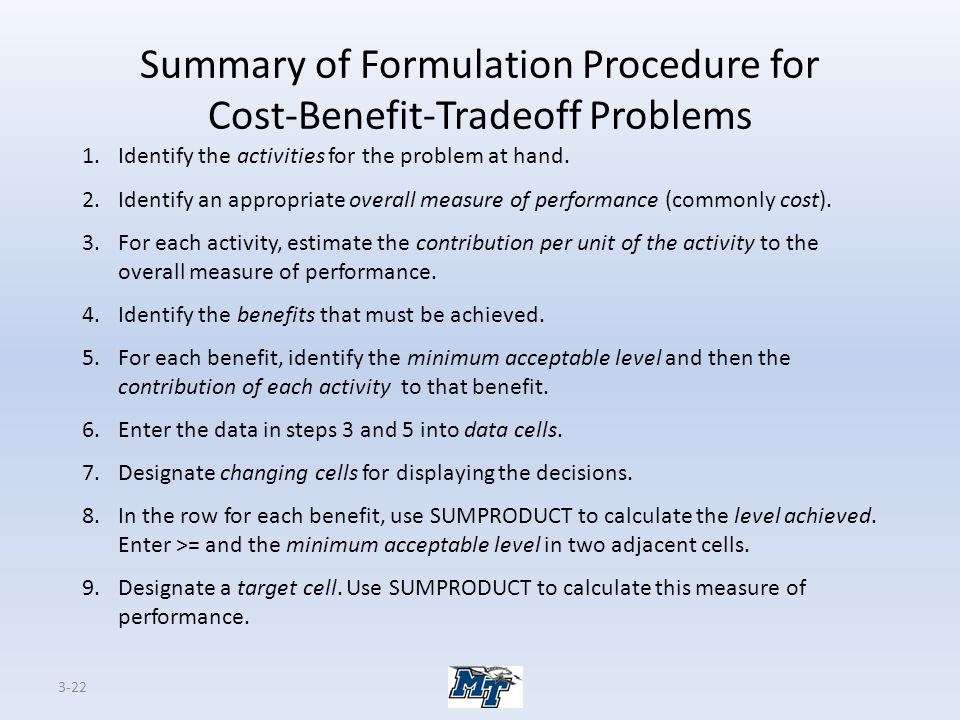 Summary of Formulation Procedure for Cost-Benefit-Tradeoff Problems