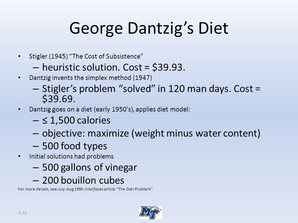 George Dantzig's Diet heuristic solution. Cost = $39.93.
