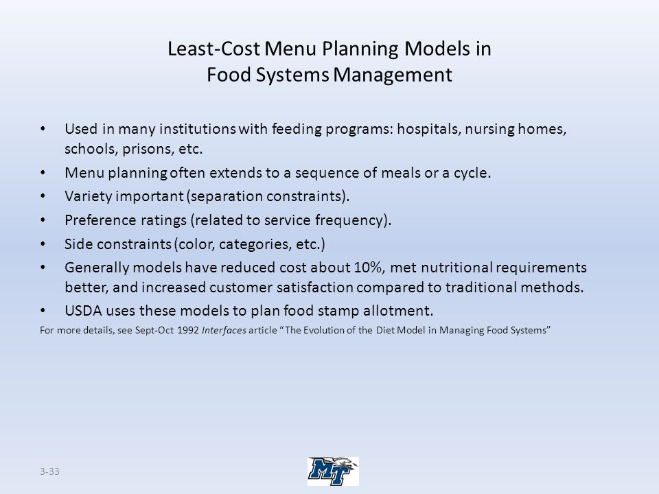 Least-Cost Menu Planning Models in Food Systems Management