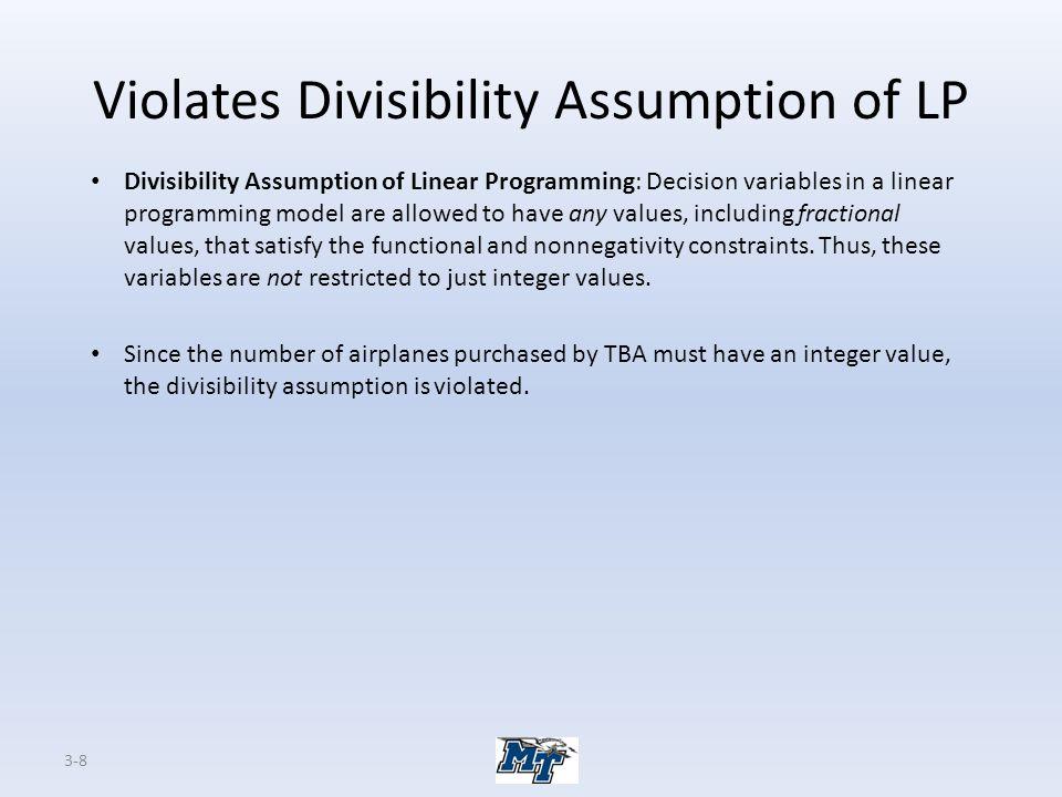 Violates Divisibility Assumption of LP