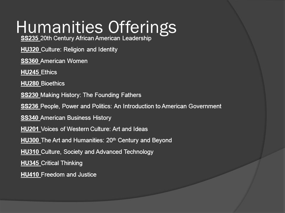 Humanities Offerings SS235 20th Century African American Leadership